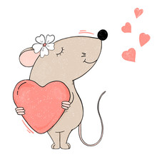 Cute Mouse With A Heart. Valentine's Day.