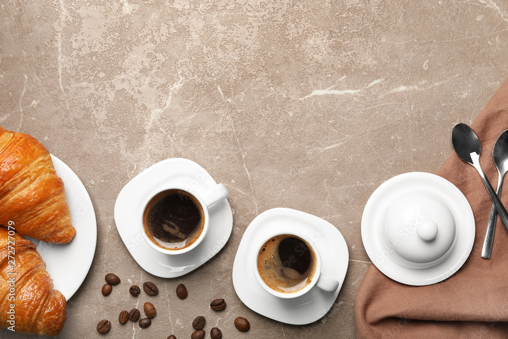 Fototapety, obrazy: Flat lay composition with cups of coffee and croissants on grey background. Space for text