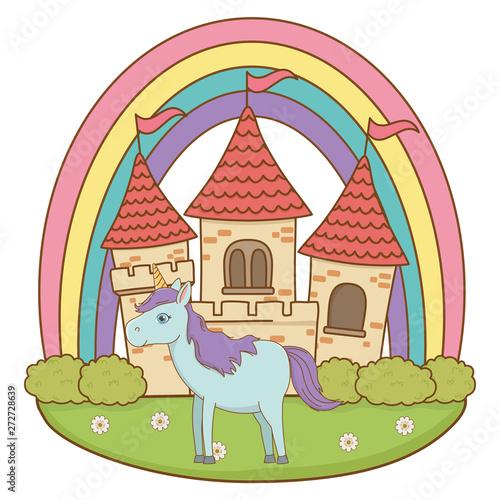 Montage in der Fensternische Pony Isolated white unicorn cartoon design vector illustration