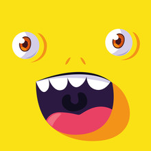 Yellow Monster Cartoon Design Icon Vector Ilustration