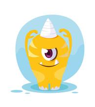 Yellow Monster Cartoon Design ...