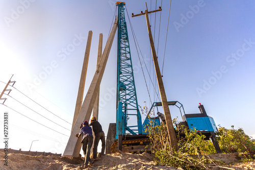 Pile driving working at construction site  Hydraulic