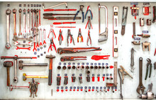 Set Collection Of Professional Mechanic Tools Hanging As Background.