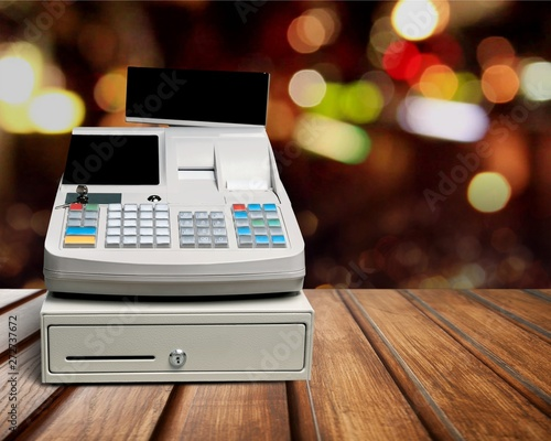 Kiev Cash register with LCD display on background