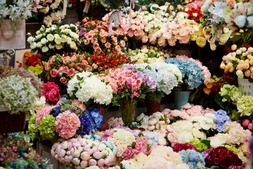 Various flowers at flower shop