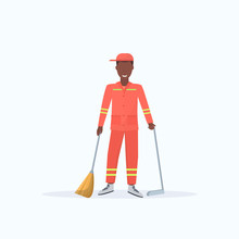 Male Street Cleaner Holding Broom And Dustpan African American Man Sweeping Garbage In Scoop Cleaning Service Concept Full Length Flat White Background