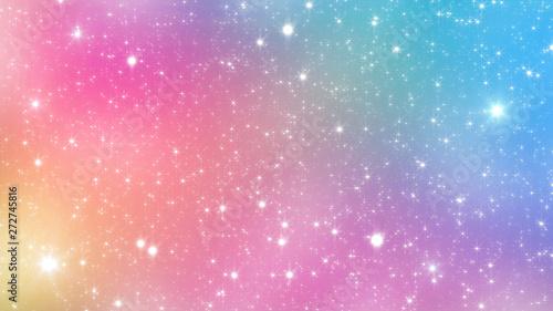 Fototapeta  Holographic Abstract Kawaii universe princess colors Fantasy Pastel Fairy rainbow stars and blurs background