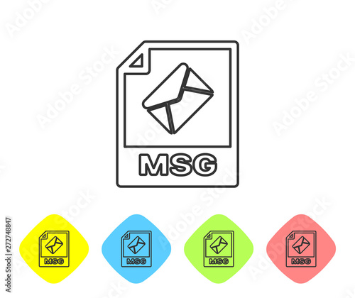 Grey MSG file document icon  Download msg button line icon isolated