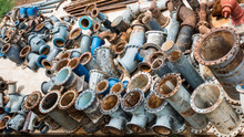 Old Cast Iron Pipe Fittings In...