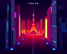 Tokyo City Night Skyline With Skytree Television Tower View In Neon Illumination. Metropolis Architecture, Modern Megapolis With Glowing Skyscrapers Along Lightened Road. Cartoon Vector Illustration