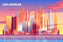 Los Angeles City Skyline Architecture Near Waterfront, Modern Megapolis With Buildings Skyscrapers Reflecting In Water Surface Under Cloudy Blue And Pink Sky With Sun Rays. Cartoon Vector Illustration