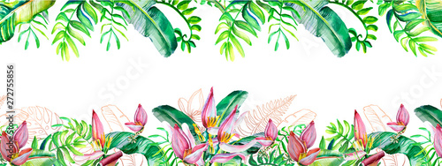 Fototapeten Künstlich Seamless border. Watercolor floral arrangement with tropical leaves and flowers. Floral greeting card. Template for invitations, wedding, text. Frame, border. Illustraton