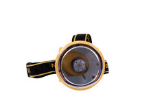 Flashlight Head. Headlamp, Isolated On White Background.The Small Flashlight With Straps For Head Have A Clipping Path.