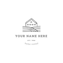 Hand Drawn Vector Logo Template With A Country House. Property Rental Theme.