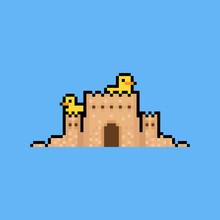 Pixel Art Sand Castle With Two Duck.8bit.