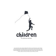 Children Playing Kite Logo, Kids Playing Logo Design Template