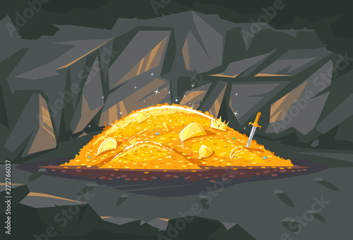 Big bright pile of gold coins with different treasures in dark cave, treasures hidden deep in the cave, wealth conceptual illustration