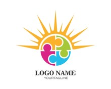 Puzzle And Community Social Network Logo Icon Illustration