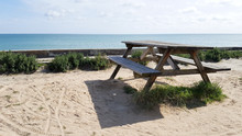 Wooden Table For Picnic On The...