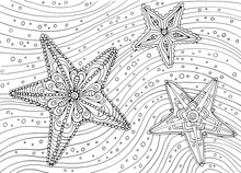 Hand Drawing Coloring For Kids And Adults. Beautiful Drawings With Patterns And Small Details. One Of A Series Of Coloring Pictures.