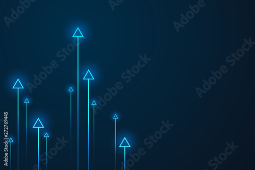 Cuadros en Lienzo Up arrows on blue background illustration vector for business and finance, copy space composition, minimalist style, growth concept