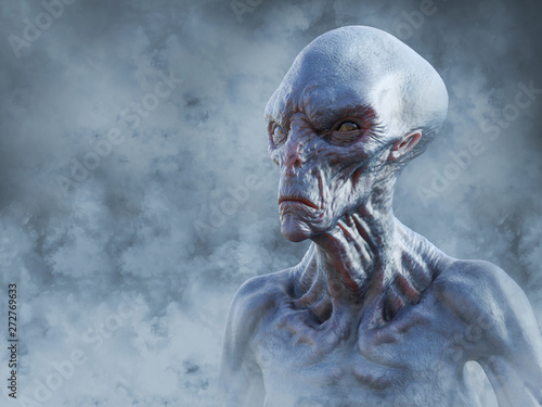 фотография 3D rendering of an alien creature surrounded by smoke.