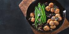 Meatballs, Green Beans Sauce  ...