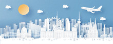 Panorama View Of Germany And City Skyline With World Famous Landmarks In Paper Cut Style Vector Illustration