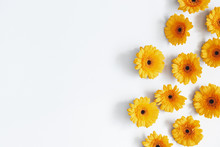 Flowers Composition. Yellow Gerbera Flowers On Gray Background. Summer Concept. Flat Lay, Top View, Copy Space