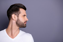 Profile Side View Photo Of Charming Lovely Attractive Man Look Feel Gorgeous Concentrated Focused Isolated Dressed White Shirt T-shirt Fashionable Clothing Grey Background