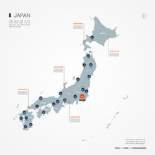 Japan Map With Borders, Cities, Capital And Administrative Divisions. Infographic Vector Map. Editable Layers Clearly Labeled.