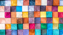 Wood Aged Art Architecture Texture Abstract Block Stack On The Wall For Background, Abstract Colorful Wood Texture For Backdrop.