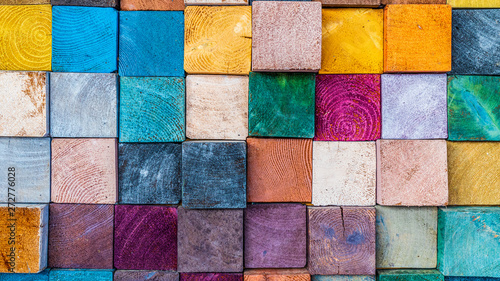 Pinturas sobre lienzo  Wood texture block stack on the wall for background, Abstract colorful wood texture
