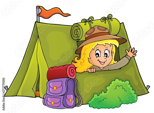 Wall Murals For Kids Scout girl in tent theme 1