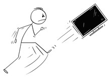 Vector Cartoon Stick Figure Drawing Conceptual Illustration Of Angry Man Kicking Out The TV, Television Or Computer Monitor Or Screen. Broken Technology Concept.
