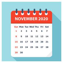 November 2020 - Calendar Icon - Calendar Design Template