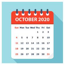 October 2020 - Calendar Icon - Calendar Design Template