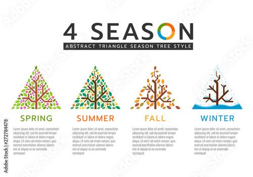 Fotografie, Obraz  4 season sign with abstract triangle season tree style vector design