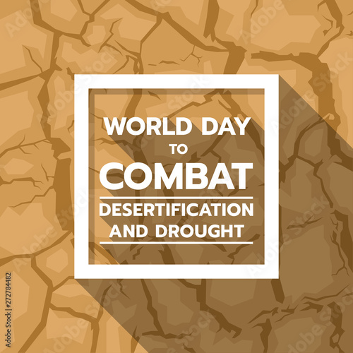 Obraz na plátně World Day to Combat Desertification and Drought banner with text in white frame