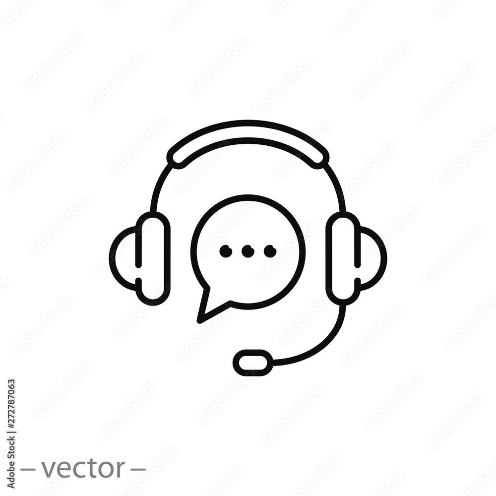 Fototapeta support service icon, hotline customer advice, call center help, line symbol on white background - editable stroke vector illustration eps10