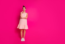 Full Length Body Size View Of Her She Nice Charming Attractive Sweet Glamorous Winsome Minded Slim Fit Thin Girl Thinking Isolated Over Bright Vivid Shine Pink Fuchsia Background