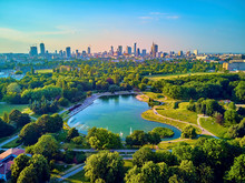 "A Beautiful Panoramic View Of The Sunset In A Fabulous Evening In June From Drone At Pola Mokotowskie In Warsaw, Poland - ""Mokotow Field"" Is A Large Park In Warsaw - Is Called ""Jozef Pilsudski Park"""