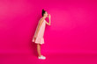 canvas print picture - Full length body size profile side view of her she nice charming attractive lovely cheerful cheery slim fit thin girl saying message isolated on bright vivid shine pink fuchsia background