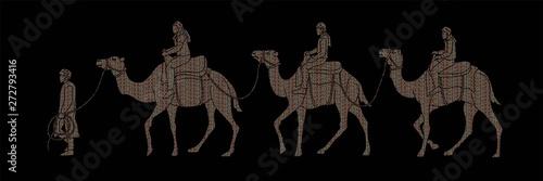Cameleer with caravan camels cartoon graphic vector Fototapeta
