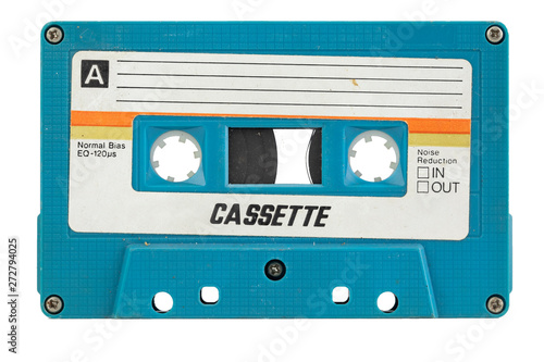 Foto Old cassette for tape recorder. a symbol of 80s, 90s period