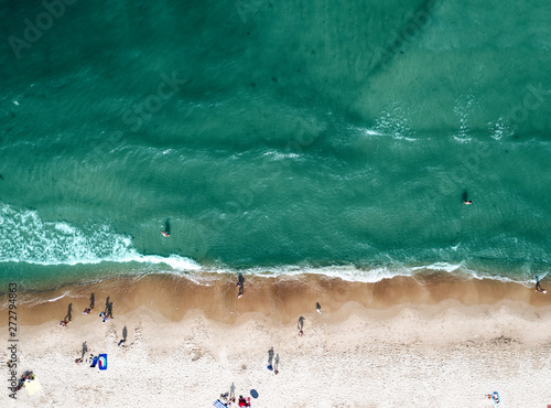 Aerial view of summer beach and ocean landscape