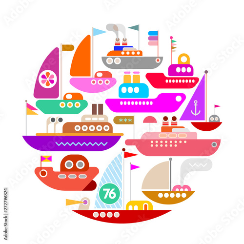 Fotoposter Abstractie Art Ships and Yachts round shape vector isolated