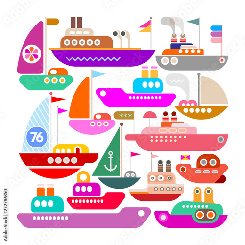 Foto op Plexiglas Abstractie Art Ships, Yachts and Boats vector icon design