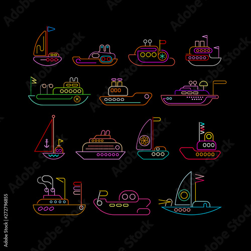 Foto op Plexiglas Abstractie Art Ship neon colors vector icon set