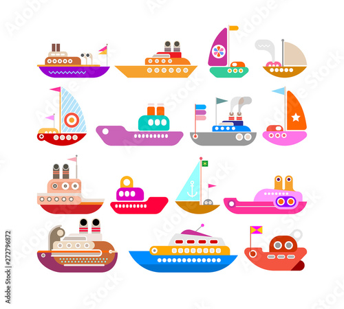 In de dag Abstractie Art Ship vector icon set